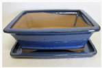 Bonsai Pot, Rectangle, 26cm, Blue, Glazed, Saucer